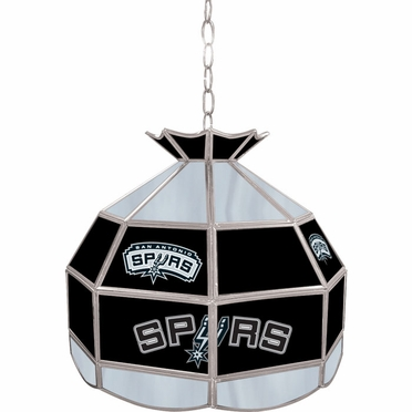 San Antonio Spurs 16 Inch Diameter Stained Glass Pub Light