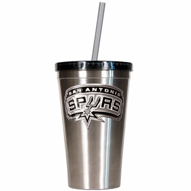San Antonio Spurs 16oz Stainless Steel Insulated Tumbler with Straw