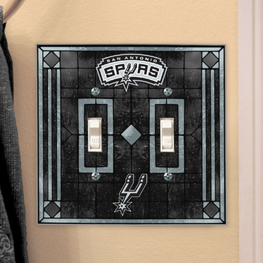 San Antonio Spurs Art Glass Lightswitch Cover (Double)