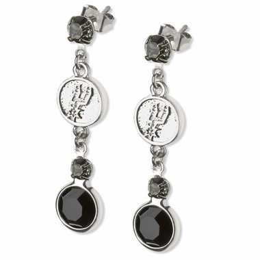 San Antonio Spurs Crystal Logo Dangle Earrings