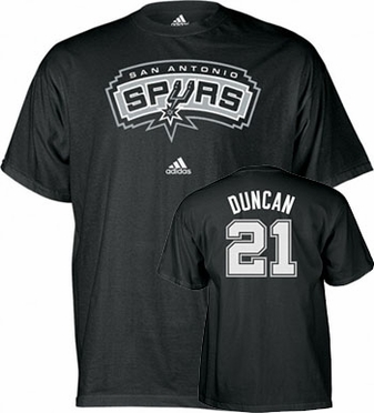 San Antonio Spurs Tim Duncan Player Name and Number T-Shirt