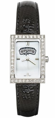 San Antonio Spurs Women's Black Leather Strap Allure Watch