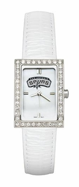 San Antonio Spurs Women's White Leather Strap Allure Watch