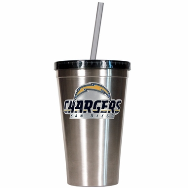 San Diego Chargers 16oz Stainless Steel Insulated Tumbler with Straw