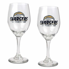 San Diego Chargers 2 Piece Wine Glass Set