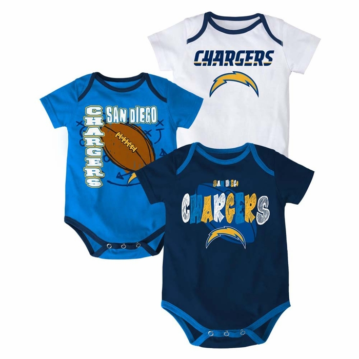 San Diego Chargers 3 Point Spread Infant 3 Pack Bodysuit