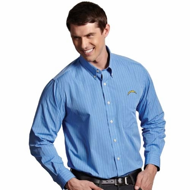 San Diego Chargers Mens Achieve Striped Button Down Dress Shirt (Team Color: Aqua)