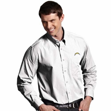 San Diego Chargers Mens Achieve Striped Button Down Dress Shirt (Color: White)