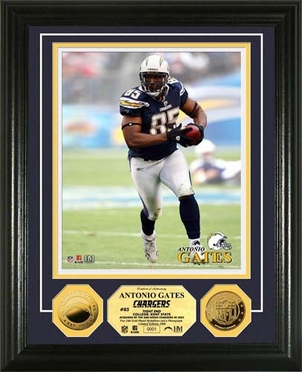 San Diego Chargers Antonio Gates 2010 24KT Gold Coin Photo Mint