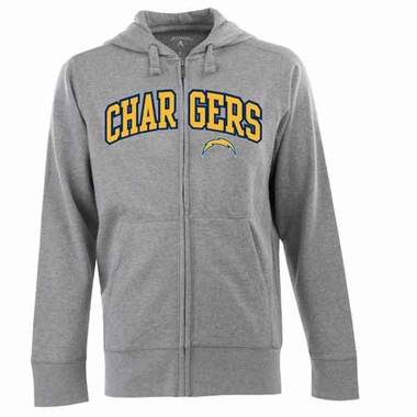 San Diego Chargers Mens Applique Full Zip Hooded Sweatshirt (Color: Gray)