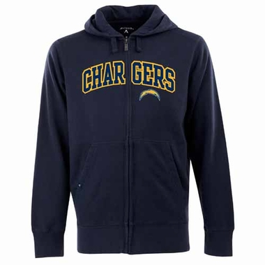 San Diego Chargers Mens Applique Full Zip Hooded Sweatshirt (Color: Navy)
