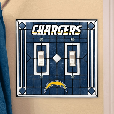 San Diego Chargers Art Glass Lightswitch Cover (Double)