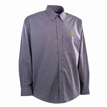 San Diego Chargers Mens Esteem Check Pattern Button Down Dress Shirt (Team Color: Navy)