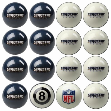 San Diego Chargers Home and Away Complete Billiard Ball Set