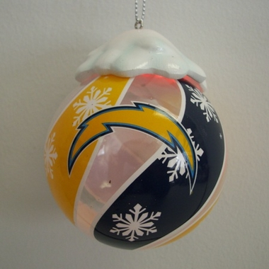 San Diego Chargers Light Up Glass Ball Ornament