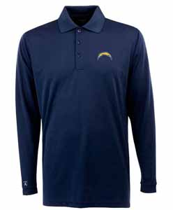 San Diego Chargers Mens Long Sleeve Polo Shirt (Team Color: Navy) - Large