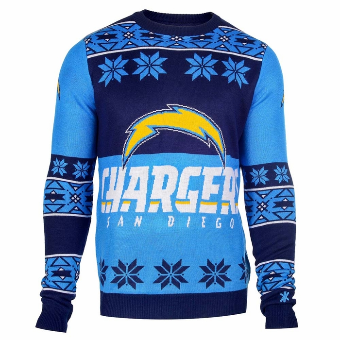 San Diego Chargers Mens Big Logo Ugly Sweater Large