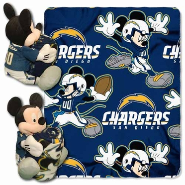 San Diego Chargers Mickey Mouse Pillow / Throw Combo