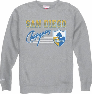 San Diego Chargers Mitchell & Ness NFL Throwback Crew Sweatshirt - Gray