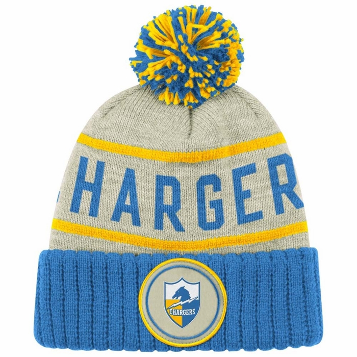 Men's San Diego Chargers '47 Navy/Powder Blue Linesman Cuffed Knit Hat with Pom