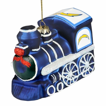 San Diego Chargers NFL Blown Glass Train Ornament