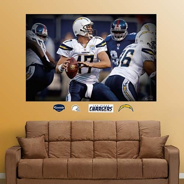 San Diego Chargers Philip Rivers Closeup Mural Fathead Wall Graphic