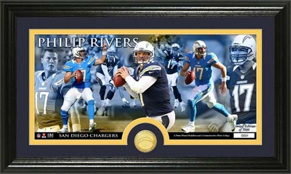 San Diego Chargers Phillip Rivers Bronze Coin Panoramic Photo Mint