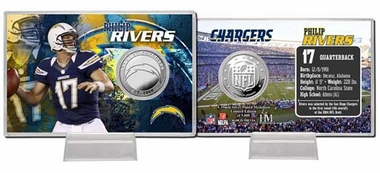 San Diego Chargers Phillip Rivers Silver Coin Card