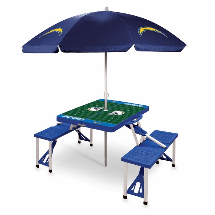 Umbrella For Picnic Table : ... Tailgating San Diego Chargers Picnic Table With Umbrella (Blue