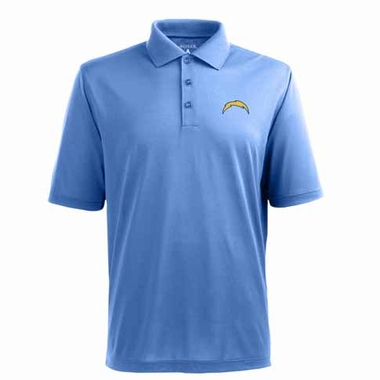 San Diego Chargers Mens Pique Xtra Lite Polo Shirt (Alternate Color: Aqua)