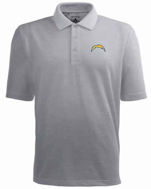 San Diego Chargers Mens Pique Xtra Lite Polo Shirt (Color: Gray)