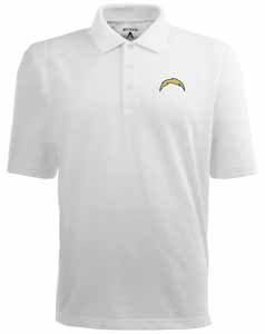 San Diego Chargers Mens Pique Xtra Lite Polo Shirt (Color: White) - Large
