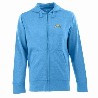 San Diego Chargers Mens Signature Full Zip Hooded Sweatshirt (Color: Aqua)