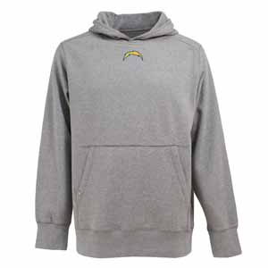 San Diego Chargers Mens Signature Hooded Sweatshirt (Color: Gray) - Medium