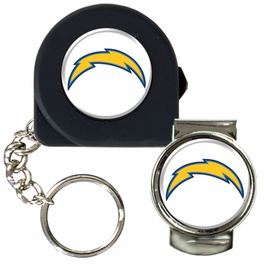 San Diego Chargers Tape Measure Key Chain and Money Clip Set