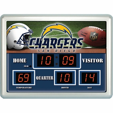 San Diego Chargers Time / Date / Temp. Scoreboard