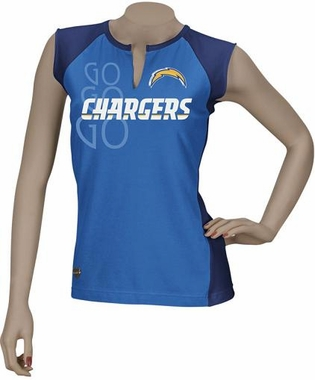 San Diego Chargers Two-Toned Split Neck T-Shirt