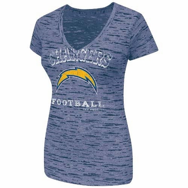 San Diego Chargers Women's Majestic Pride Playing IV Burnout V-neck Shirt