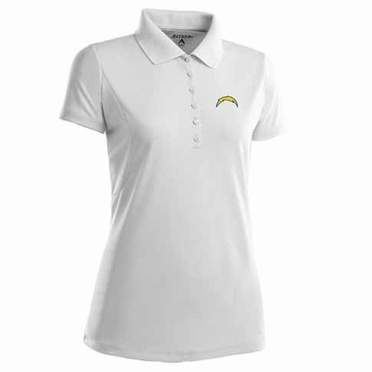 San Diego Chargers Womens Pique Xtra Lite Polo Shirt (Color: White)