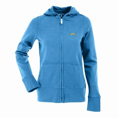 San Diego Chargers Womens Zip Front Hoody Sweatshirt (Alternate Color: Aqua)