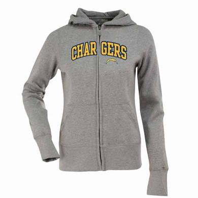San Diego Chargers Applique Womens Zip Front Hoody Sweatshirt (Color: Gray)