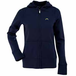San Diego Chargers Womens Zip Front Hoody Sweatshirt (Team Color: Navy) - Large