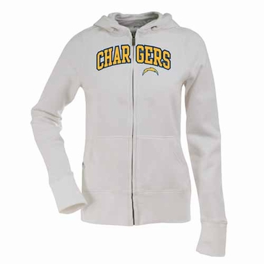 San Diego Chargers Applique Womens Zip Front Hoody Sweatshirt (Color: White)
