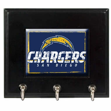 San Diego Chargers Wooden Keyhook Rack