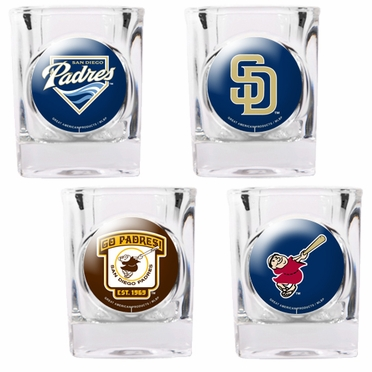 San Diego Padres 4 Piece Assorted Shot Glass Set