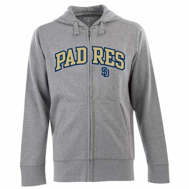 San Diego Padres Mens Applique Full Zip Hooded Sweatshirt (Color: Gray)