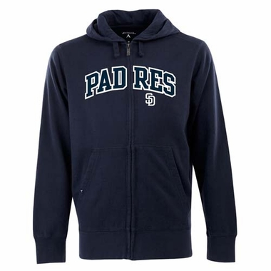San Diego Padres Mens Applique Full Zip Hooded Sweatshirt (Color: Navy)