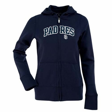 San Diego Padres Applique Womens Zip Front Hoody Sweatshirt (Team Color: Navy)
