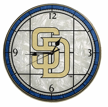 San Diego Padres Art Glass Clock