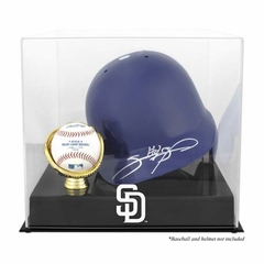 San Diego Padres Batting Helmet with Ball Holder Logo Display Case